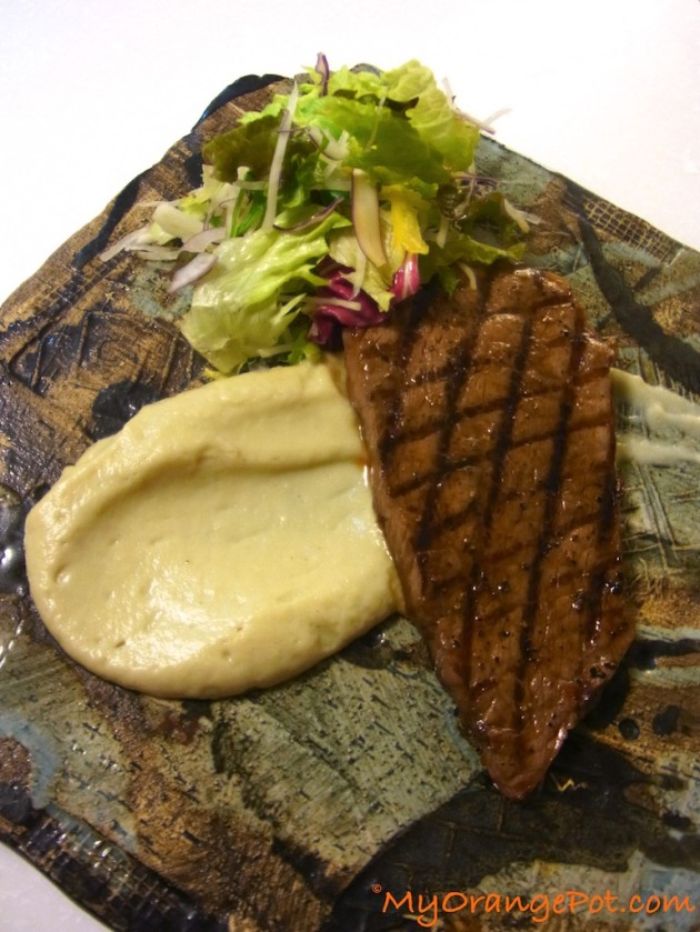 One of the many ways you can use the puree for - serving it as a side dish to a Wagyu steak and a side salad.