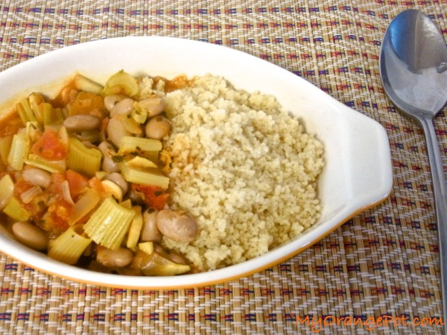 Jerk beans served on a bed of couscous